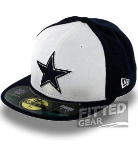 Dallas COWBOYS WHITE NAVY ON FIELD Sideline New Era 59Fifty NFL Fitted