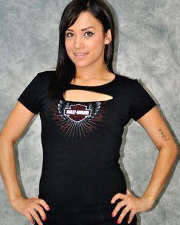 Harley Davidson Ladies Slash Chest Winged Bar & Shield Logo Black T