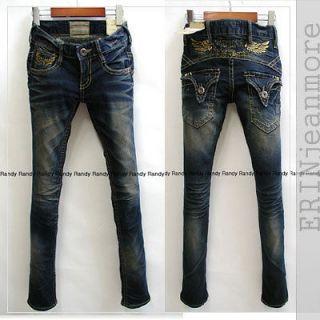 EJM) premium jean series / Luxury Slim Skinny jeans /gold wings