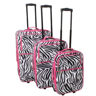 All Season Combination Lock 3 Piece Upright Luggage Set   Pink Zebra