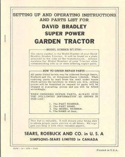 David Bradley Super Power Garden Tractor Manual Model 917.57561