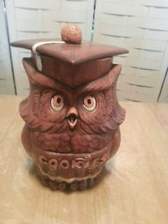 Big Ceramic Owl Cookie Jar~By Treasure Craft~Vintage
