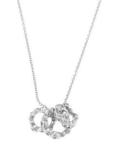 SILVER BEZEL SET CZ INIFINITY MOTHER DAUGHTER CIRCLE SET NECKLACE