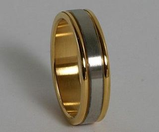 316L Stainless Steel Two Tone Silver Rings Wedding Band