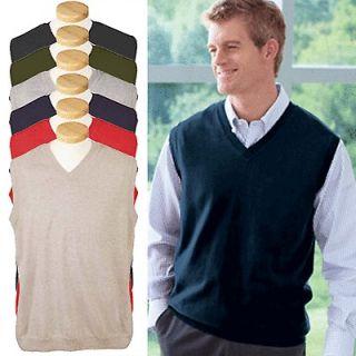 Devon & Jones Mens V Neck Sweater Vest 100% Cotton S,M,L,XL,2X,3X,4X 6