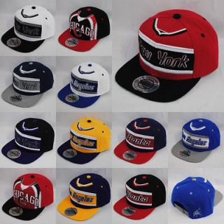 CITY HUNTER NEW YORK LA CHICAGO SNAPBACK FLAT PEAK BLACK RED BASEBALL