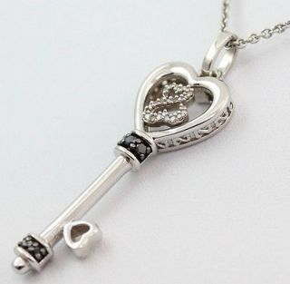Key Open Heart 1/15ct Diamond Pendant/Necklace Sterling Silver 18