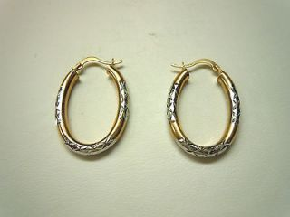 14K Two Tone Diamond Cut Oval Hoop Earrings
