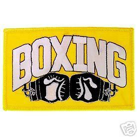BOXING & BOXING GLOVES NOVELTY SLOGAN EMBROIDERED PATCH