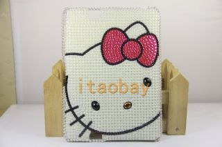 Bling Crystal Pearl Hello Kitty Back Cover Case For  Kindle Fire
