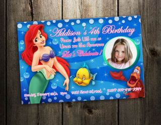 Mermaid BIRTHDAY PARTY INVITATION princess CARD CUSTOM INVITE   A1