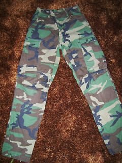 ARMY MILITARY ISSUED WOODLAND CAMOUFLAGE COMBAT CARGO PANTS XSMALL/REG