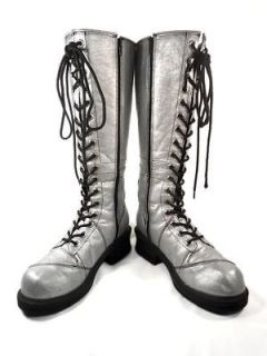 Womens Shoe NaNa Rock N Roll Metallic Silver Zip Boots Tall Lace