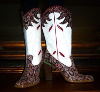 Vintage DINGO Snakeskin Red/Black/Whit e Leather Boots, 7M