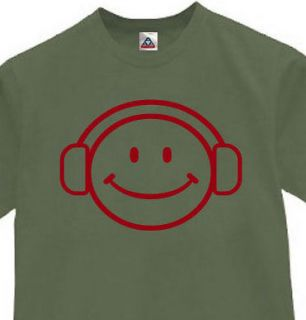 HAPPY DEEJAY FACE T SHIRT MUSIC FUNNY TEE  OLIVE M