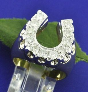 Newly listed 1.50ct MENS DIAMOND RING HORSESHOE YELLOW GOLD 14K LUCK
