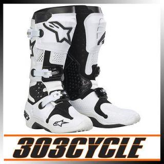 Alpinestars Tech 10 Off Road Dirt Bike Riding Boots   White / Black