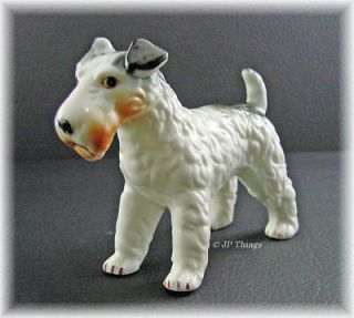 Fox Wired Terrier Dog Figurine White, Black and Tan