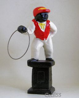JOCKO BLACK LAWN JOCKEY DOOR STOP STATUE CAST IRON   SHIPS FREE