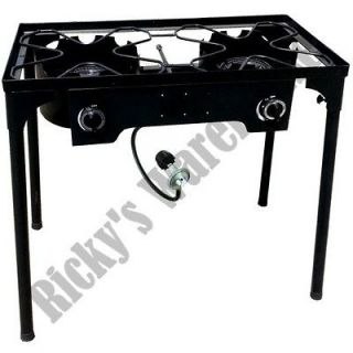 Double Gas Burner Stove Portable Camping Outdoor Propane Cooking