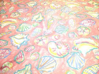 Hand Sewn Heavy Fabric Shower Curtain Peach Pink With Bold Sea Shell