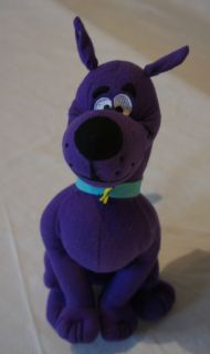 Toy Factory Medium Stuffed Plush Purple Blue Collar Scooby Doo Dog