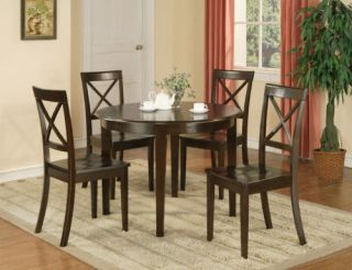 PC BOSTON ROUND DINETTE DINING TABLE & 4 WOOD SEAT CHAIRS IN