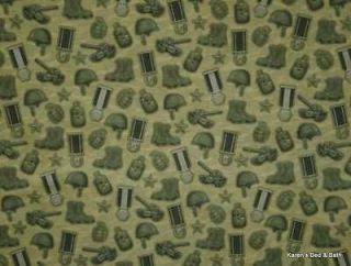 Military Army Combat Boots Tank Helmet Canteen Metals Camo Green