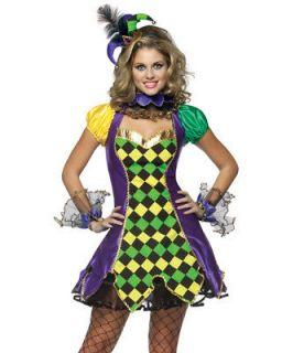 Womens Mardi Gras Jester Costume Dress 4pieces Sz 4 8