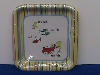 HALLMARK BABY SEUSS ONE TWO FISH DR SEUSS BABY SHOWER 7 X 7 PLATES 8