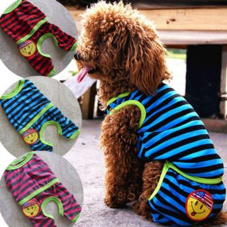 Multicolor Stripe Pet Jumpsuit Pajamas Shirts Dog Clothes Pet Supplies
