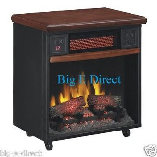 Infrared Fireplace with Casters Portable Rolling Heater Quite Fan