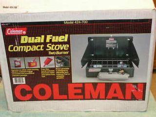 NIB 1995 COLEMAN DUAL FUEL MODEL 424 700 TWO BURNER CAMP STOVE