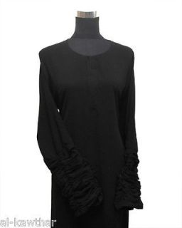 Black Dubai Khaleeji Abaya/Jilbab plain elegant ruffled sleeves sizes