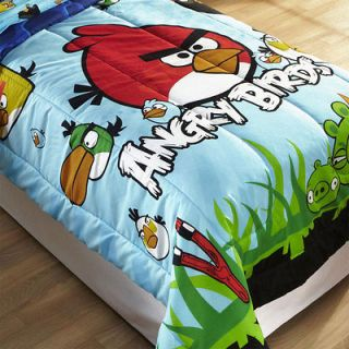 nEw ANGRY BIRDS TWIN COMFORTER   Video Game App Bird Pigs Blanket