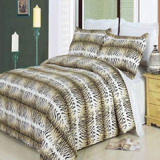 100% Egyptian Cotton Safari Tiger Animal Print Duvet Cover Bedding Set