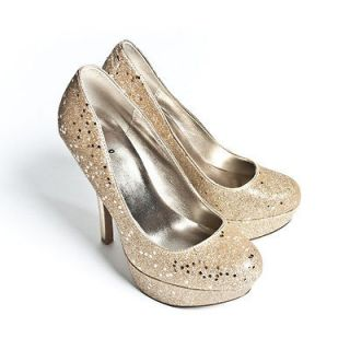 Womens Shoes Champagne High Heel Platform Bridal Glitter Round Toe