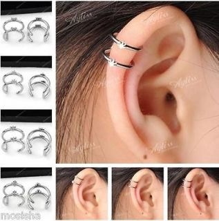 Stainless Steel Closure Fake Cartilage Clip On Ear Cuff Earring 2Rings