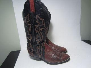 Lama 2 tone brown & black lizard ladies cowboy boots 6 M 14 tall