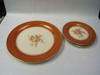 Edwin Knowles China 22 Karat Gold 3 plates 1 platter