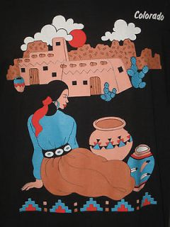 COLORADO T SHIRT INDIAN NATIVE AMERICAN DESIGN MADE IN USA BLACK SIZE