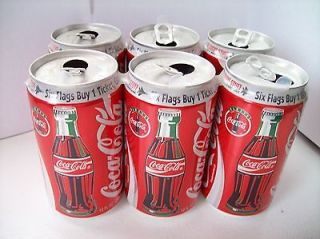Coca Cola 6 Pack 1993 TALL BOTTLE  SIX FLAGS  NEW JERSEY 12oz Empty