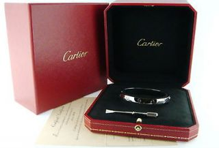 CARTIER 18K Rose Pink Gold Love Bracelet, Size17~~Certi ficate of
