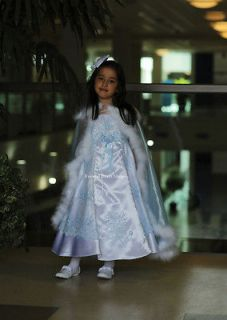 LITTLE FLOWER GIRL WHITE BABY BLUE PINK LILAC DRESSES & CAPE FORMAL