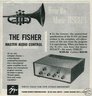 1959 FISHER X 101 Duplex Stereo Amplifier Print Ad