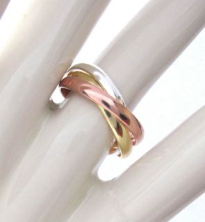 NEW Tri Color Silver Rose Gold EP 3 Band Trinity Rolling Ring Sz 7 9