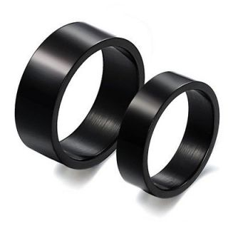 NEW Black Concise Titanium Steel Promise Ring Lovers Couple Wedding