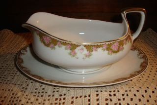 HUB Austria Gravy Boat Underplate Set Gold Pink Roses XLT