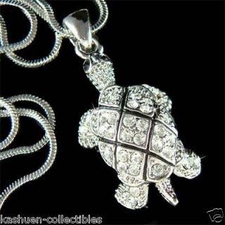 Swarovski Crystal Sea TURTLE Turtoise wildlife pet Pendant chain