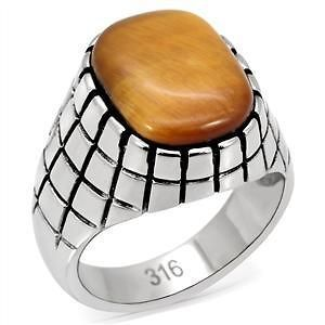 R939 11 GENUINE 12 CARAT TIGERS EYE RING IN 316 STAINLESS STEEL
